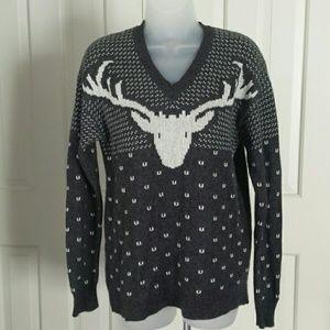 J. Crew Factory gray and white deer/buck sweater